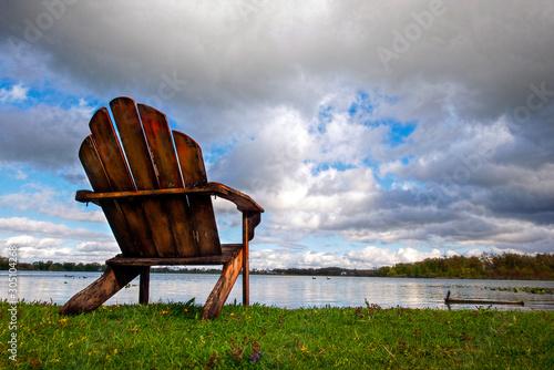 Adirondack Chair at Edge of Lake with Clouds, Series Wallpaper Mural