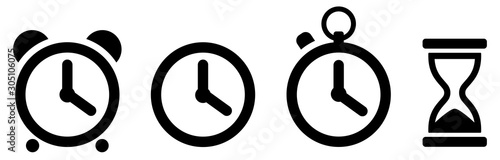 Fotomural Time icons set. Clock icon. Vector