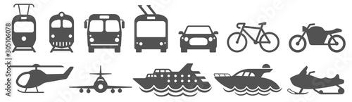 Public transport icons set. Vector illustration Fototapet