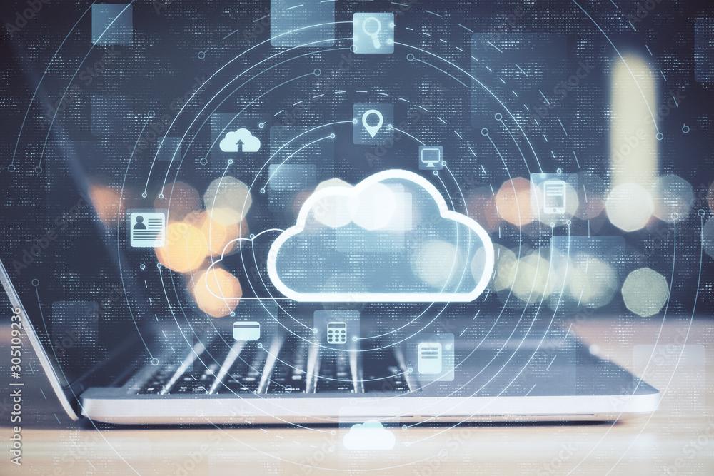 Fototapeta Laptop with cloud computing diagram