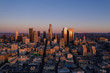 Drone view of downtown Los Angeles at sunrise