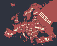 Poster Map Of Europe. Vintage Europe Map Isolated On Black Background. Europe Background. Vector Illustrtion