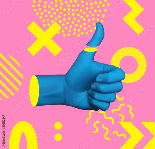 Canvas Print Contemporary art collage with hand showing thumb up