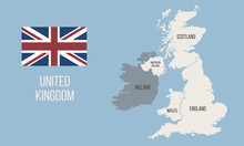 Vector Great Britain Map Wit UK Flag Isolated On White Background. Vintage United Kingdom Poster Map. Vector Illustration