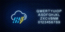 Glowing Neon Thunderstorm With Rain Weather Icon With Alphabet. Storm And Rain Symbols With Lightning In Neon Style