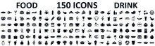 Food And Drinks Set 150 Icons ...