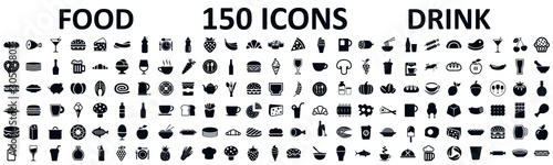 Fotografiet Food and drinks set 150 icons for menu, infographics, design elements – stock ve