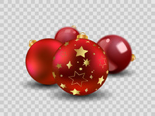 Four Red Christmas Balls With ...