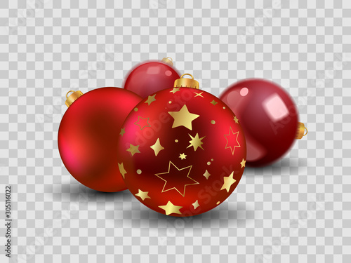 Spoed Foto op Canvas Hoogte schaal Four red Christmas balls with gold stars, empty and transparent New year toy decoration - vector