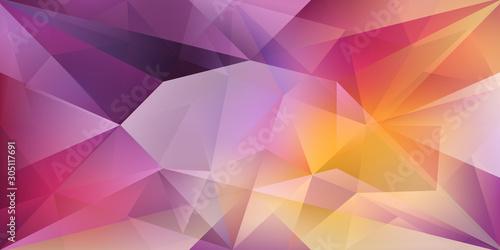 Abstrakcjonistyczny krystaliczny tło z załamującym światłem i pasemkami w purpurowych i żółtych kolorach