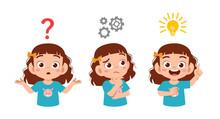 Happy Cute Kid Girl Search Idea Process