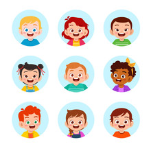Happy Cute Kids Boy And Girl Avatar Face