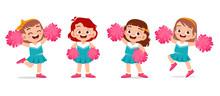 Happy Cute Girl Wear Cheerlead...