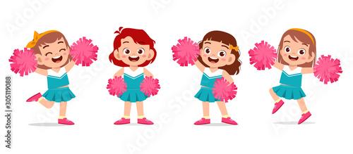Fotografía happy cute girl wear cheerleader cute uniform set