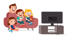 Happy Cute Kid Watch Tv With F...