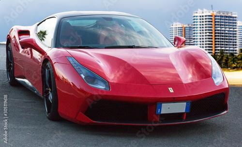 Beautiful design of luxury model sports red supercar Ferrari 488 GTB in a beauti Tableau sur Toile