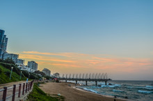 Beautiful Umhlanga Promenade Pier A Whalebone Made Pier In Kwazulu Natal Durban North South Africa During Sunset