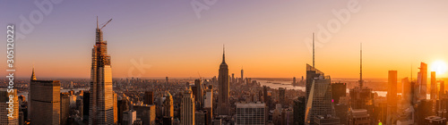 Amazing panorama view of New York city skyscraper during sunset. Stunning view in Manhattan