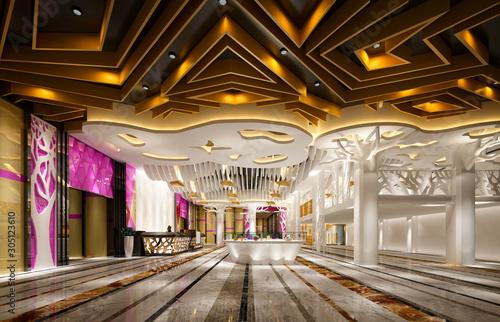 Fototapeta 3d render of exhibition hall and reception obraz