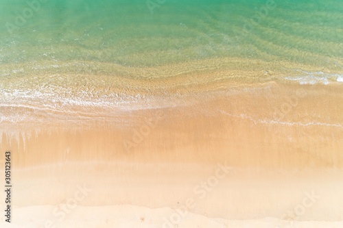Tropical sea with wave crashing on beach aerial view drone shot Top view