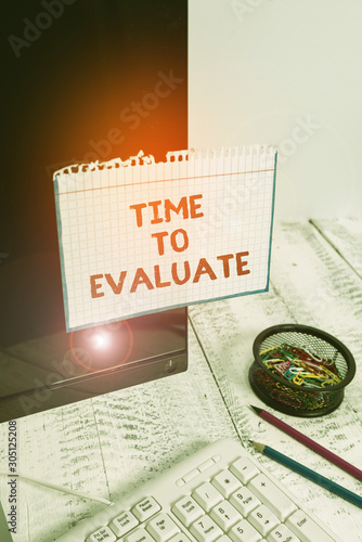Writing note showing Time To Evaluate Canvas Print