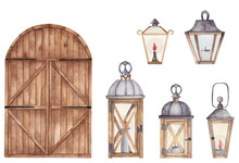 Watercolor Vintage Lanterns Se...