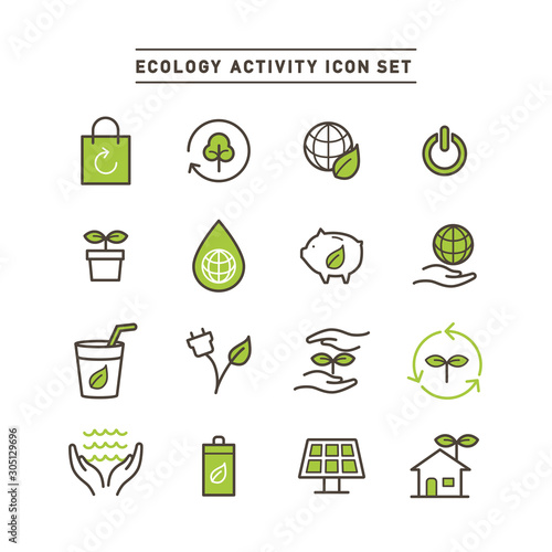 ECOLOGY ACTIVITY ICON SET Wallpaper Mural