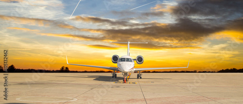Fotografering Jet airplane stand by for transport VIP passeger