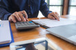Business accountant Sitting in finance Accounting Auditor, banker, working in office