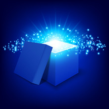 Blue Gift Box On Gradient Background