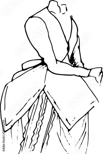 Photo Hand drawn vector set: elegant vintage clothes - variety of retro fashion illustrations