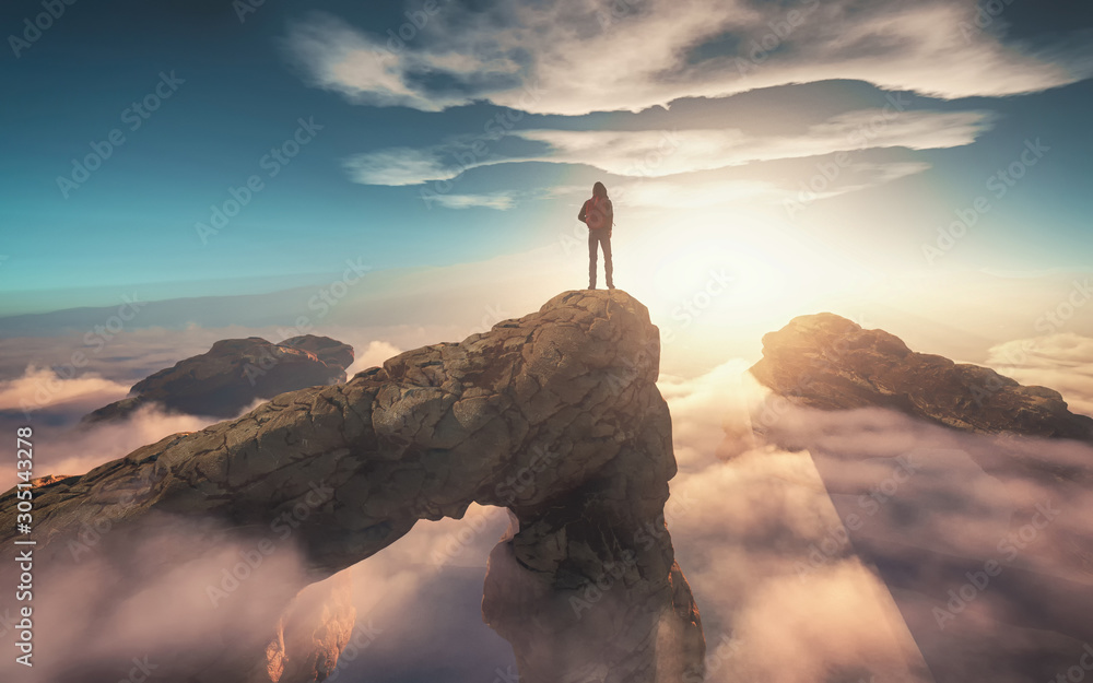 Fototapeta Above clouds. This is 3d render illustration