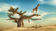 Leinwanddruck Bild Giraffe on a tree. This is 3d render illustration