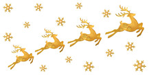 Beautiful Golden Reindeers And...