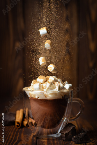 hot chocolate or cocoa in cup Fototapet