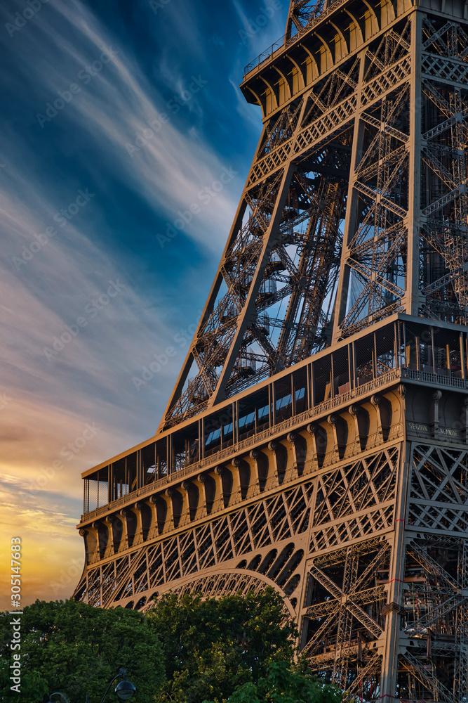 Beautiful Details of Eiffel Tower under an amazing Sky, Paris France