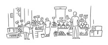 Street Market. Vegetable And Fruits Shop. People Buy Food On The Street. Hand Drawn Vector Black Line Outline.