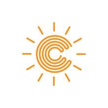 Letter C Stripes Infinity Sun Logo Vector