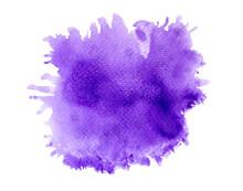 Purple Splash Of Paint Watercolor On Paper.