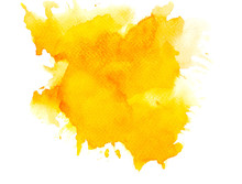 Yellow Splashes Of Paint Watercolor On Paper.