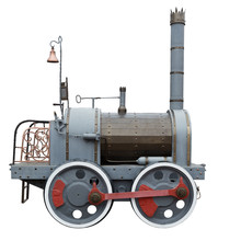 Vintage Retro Steam Train Isolated On White Background. The First Steam Engines. Side View.