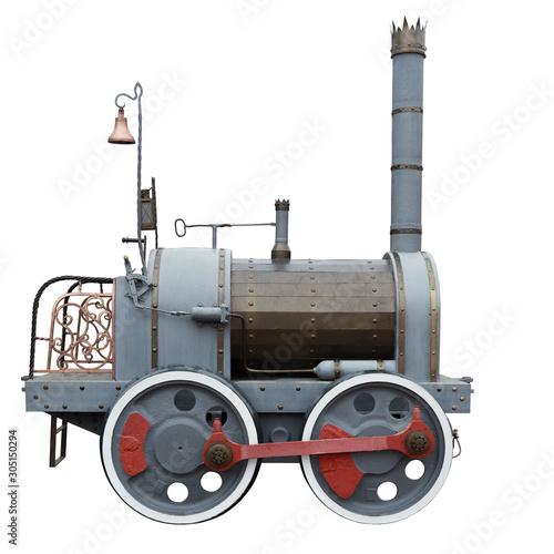 Obraz na płótnie Vintage retro steam train isolated on white background