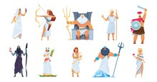 Ancient Greek Gods. Cartoon Cute Legendary Characters Of Ancient Mythology. Vector Male And Female Heroes Mountain Olympus Isolated On White Set