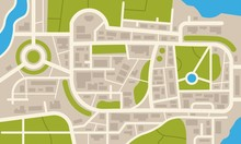 City Navigation Map. Flat Plan Of Streets Parks And River With Top View, Simple Cartoon City Map. Vector Illustration Downtown Pattern With Beautiful Mapping Image Town Squares, Square