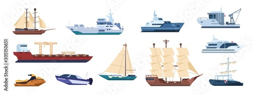 Flat ships. Sailing yachts, marine sailboats and motor ships, ocean transportation types. Vector illustrations catamaran and powerboat, boat with sail, tugboat, yacht set, for travel and work