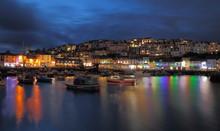 Small Fishing Town Of Brixham, Devon At Sunset