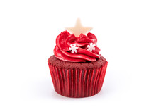 Red Christmas Cupcake Isolated On White Background