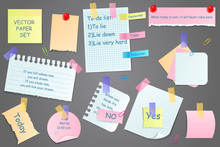 Paper Notes On Stickers, Notepads And Memo Messages Torn Paper Sheets. Sticky Notepaper Posts Of Meeting Reminder, To Do List And Office Notice Or Information Board. Vector Illustration