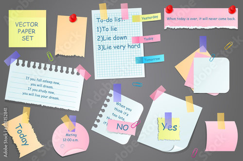 Paper notes on stickers, notepads and memo messages torn paper sheets Fotobehang