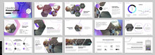 Purple Presentation Templates Elements On A White Background. Vector Infographics. Use In Presentation, Flyer And Leaflet, Corporate Report, Marketing, Advertising, Annual Report, Banner.